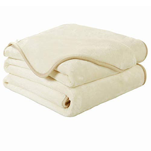 EASELAND Soft Queen Size Blanket Winter Warm Fuzzy Microplush Lightweight Thermal Fleece Blankets for Couch Bed Sofa,90x90 Inches,Ivory