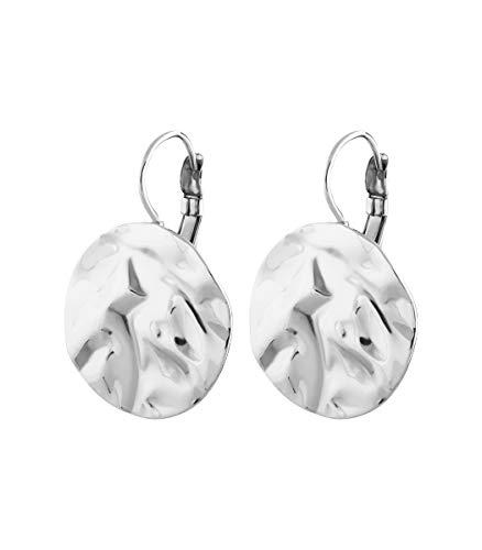 DYRBERG/KERN - Edgy French Hook Damen Ohrringe mit gehämmerter Metallscheibe - Silberfarbenes Finish - Nickelfrei - Handgefertigt