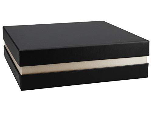 Premium+ Geschenkbox 21x21x6 cm Geschenkverpackung Schwarz, Gold metallic Schachtel Geburtstag Hochzeit Weihnachten