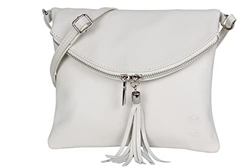 AMBRA Moda Italienische Ledertasche Schultertasche Crossover Umhängetasche Nappaleder Damen Kleine Tasche NL610 (Beige)