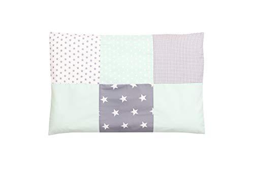 Funda de almohada para bebé de ULLENBOOM ® de 40x60 cm con menta gris (con cremallera; apta también para cojines decorativos; dibujo:patchwork)