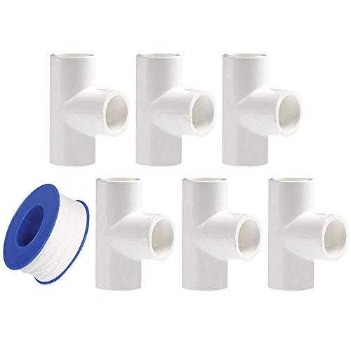 YOFASEN Conectores en T de PVC de 3 vías, 25mm - Adaptador de tubería de agua - Conector de Accesorios de Tubería de 6 Piezas con Cinta de Sellado