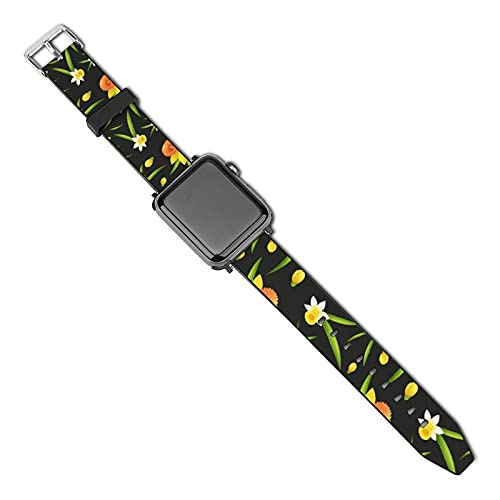 Correa de repuesto para reloj Apple Watch de 38 mm, 40 mm, correa de repuesto para iWatch Series 5/4/3/2/1, diseño de fondo sin costuras con flores de narciso