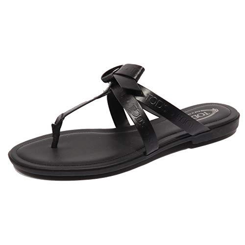Tod's F9650 Infradito Donna Black Sandalo Bow flip Flops Shoe Woman [37]