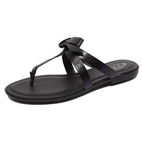 Tod's F9650 Infradito Donna Black Sandalo Bow Flip Flops Shoe Woman [36]