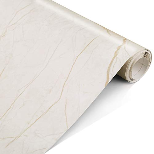 """Marble Contact Paper Gold 17.5"""" x 78.7""""- Peel and Stick Self Adhesive Contact Paper Film for Countertops, Decorative Wallpaper for Home and Office, Removable, Waterproof, Stain-Resistant, Matte"""