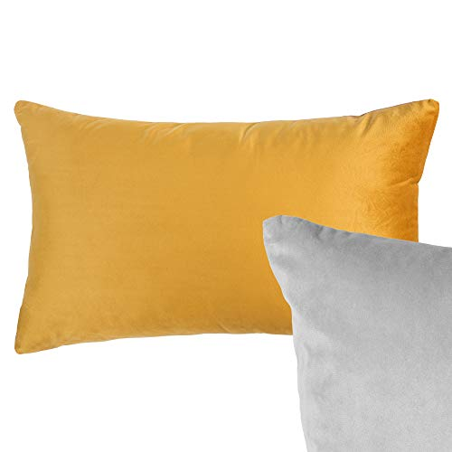 Cushoo Reversible Rectangle Velvet Cushion Cover in Mustard Yellow and Grey | Oblong Decorate Scatter Pillow Case for Sofa | 30 x 50cm | 12 x 20in