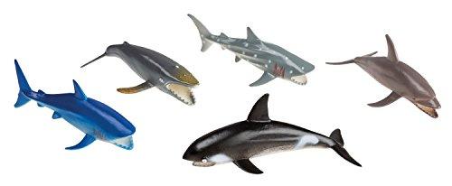 Idena 4320596 - Spielfigurenset mit 5 Meerestieren, aus Kunststoff, jeweils ca. 10 cm groß, Spielspaß für die Badewanne, den Sandkasten, im Kindergarten und Kinderzimmer
