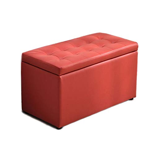 Logo Storage Benches Seat And Storage Stool Hallway Shoe Storage Bench Wood Shoes Cabinet PU Upholstered Footstool With Lid Bench Pouffe Chair Waterproof Non-slip (Color : Red, Size : 80cm)