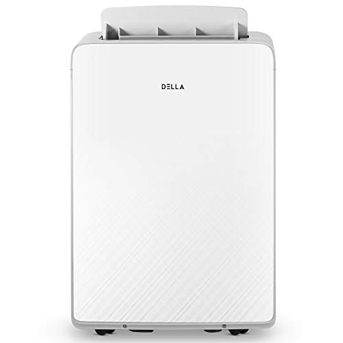 DELLA 13,000 BTU Portable Air Conditioner With Heat Cool Fan 111 Pint Per 24Hr Dehumidifier for Rooms Up To 700 Sq. Ft. Self Evaporation LCD Remote Control Window Kit Wheels
