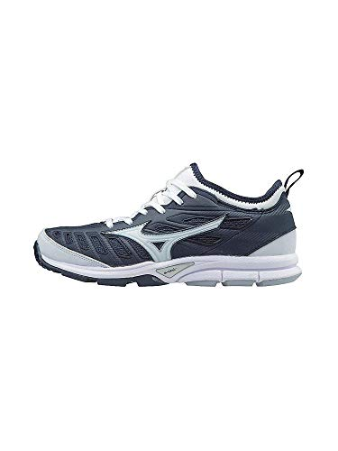 Mizuno Women's Players Trainer 2 Fastpitch Turf Softball Shoe, Navy/White, 8 B US