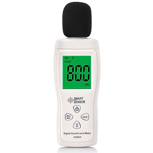 Medidor de Sonido, EECOO 30-130dB LCD Digital Medidor de volumen de ruido Medidor de monitoreo de decibelios con LCD Pantalla, Precisión de ±1.5 dB para Oficina, Teatro, Fábrica