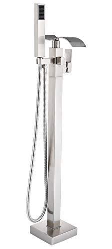 Rozin Freistehende Badewanne Brausemischer aus Gebürstetes Nickel mit ABS-Handsprüher einhandiger Bodenmontage Wasserfall Auslauf Badezimmerarmatur