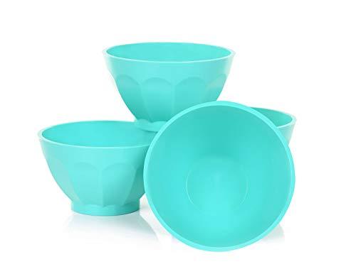 Mintra Colorful Unbreakable Plastic Bowl 4pk - (Medium - 750ml, Teal) - (Part Of A Set) - Salad, Snacks, Breakfast Cereal, Fruit, Popcorn, Soup - Shatterproof, BPA Free