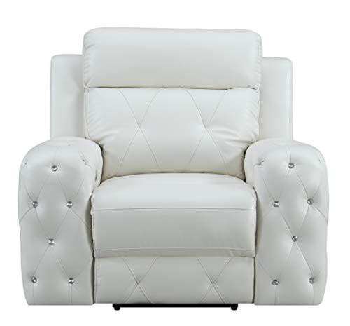 Global Furniture USA Jewel Embellished Reclining White Sofas