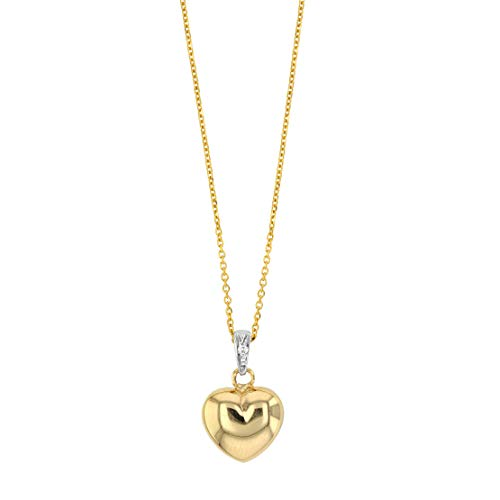 Women's Pendant Necklace 375° 9K Yellow Gold Heart Set with Real Diamonds with 42 cm Adjustable Chain - Women's Gift Idea, Mother's Day, Birthday, Wedding
