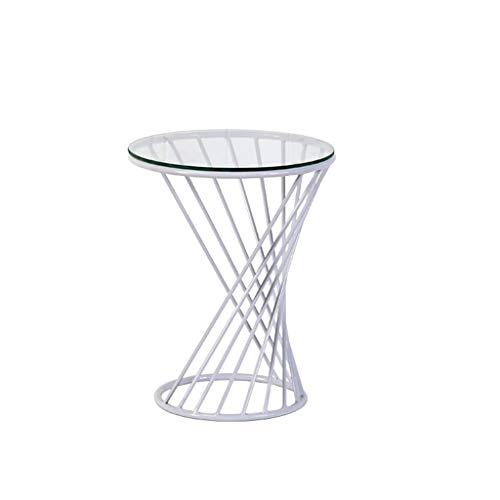 Mesa de centro pequeña Mesa de comedor redonda de metal Mesa auxiliar Mesa de centro pequeña y redonda de vidrio templado redondo Diseño en espiral mesa de centro ( Color : White , Size : Small )