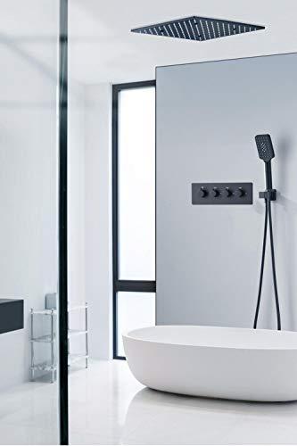 Juego de grifos de ducha de baño para bañera termostática oculto mate negro cuadrado latón LED estilo agua de lluvia montado en la pared-B,LFSUVZCEAIFQ6
