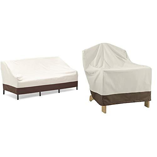 Amazon Basics Abdeckung für tiefes 3-Sitzer-Loungesofa & Abdeckung für Adirondack-Gartensessel