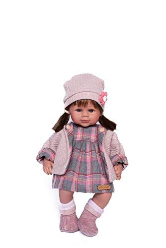 Puñecas Guca - Pop Carlota Morena jurk geruit grijs wollen mantel roze en laarzen 38 cm, meerkleurig (918)