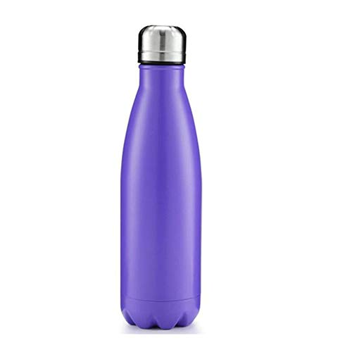 Cup Utensilien Edelstahl Trinkflasche Cola Wasser Bier Thermos for Sport-Flasche 500 ML doppelwandig isoliert Isolierflasche Thermos Cup (Capacity : 500ML, Color : Purple)