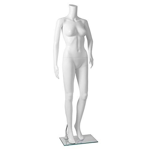 SONGMICS Manichino Donna femminile mannequin senza testa bianco in plastica durevole con base per vetrina negozio abbigliamento MPLM21