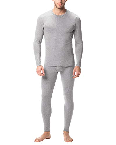 LAPASA Men's Lightweight Thermal Underwear Set Thermal Underwear Men Thermals Men Long Sleeve Top & Bottom Long Johns for Men Thermal M11(Heather Grey. L)