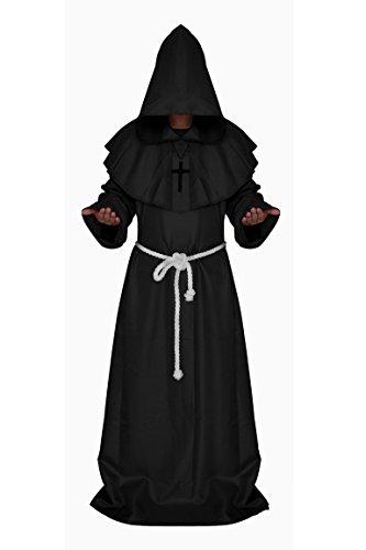 Manfis Disfraz de iglesia  Disfraz de monje con capucha del Renacimiento para hombre, negro, S