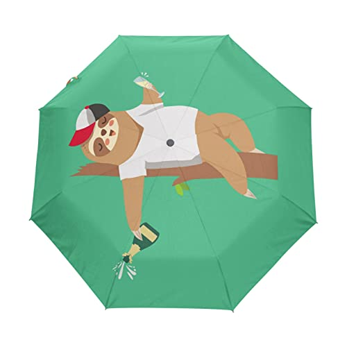 SoreSore(ソレソレ)日傘 uvカット折りたたみ 晴雨兼用 遮光 折りたたみ傘 ワンタッチ 自動開閉 軽量 レディース なまけもの 怠け者 おもしろ グリーン 可愛い 大きい 頑丈 8本骨 おしゃれ かわいい プレゼント 収
