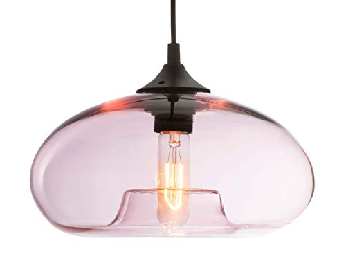 LUSSIOL Luminaire Bronks, suspension verre glossy, 40 W, rose, ø 18 x H 30 cm