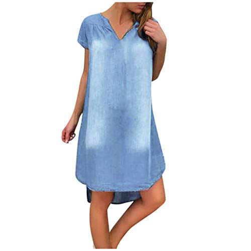 Damen Kleid, Dasongff Sommer Jeanskleid Hemdkleid V-Ausschnitt Kurzarm Lose Minikleid Denim Jeans Kleider Vintage Schickes Freizeitkleid Sommerkleid (Hellblau, XXL)