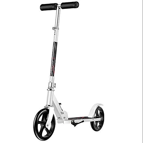 WHOJS Patinete Ajuste de altura de 3 velocidades Plegable portátil Scooter de ciudad Scooter de cercanías no eléctrico Límite de peso 260 lbs. Adecuado para niños y niñas Construcción li(Color:blanco)