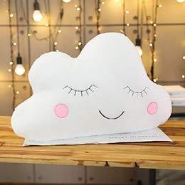 CGDX Plüsch Himmel Kissen Schlafen Lächeln Wolke Stern Wassertropfen Mond Kissen Zimmer Kinderbett Dekor Natur Kissen Weiß Rosa Grau 55 cm * 45 cm Weiße Wolke