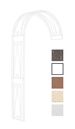 CLP Halbrunder Rosenbogen Riccardo zur Wandbefestigung I Rankhilfe aus beschichtetem Eisen I Romantischer Rankenbogen im Landhausstil Weiß, 160 x 40 x 258 cm