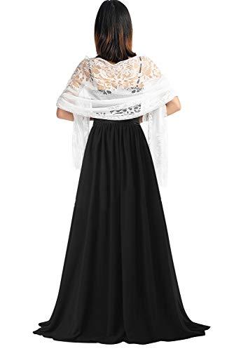 YAOMEI Damen Schals Hohle Spitze Halstücher Stola Sommer Umschlagtücher Umschlagtücher Halstuch Hochzeiten Braut Bridemaids Abendgarderobe (78.7 * 24.8 Zoll (200 cm * 63 cm), Weiß)