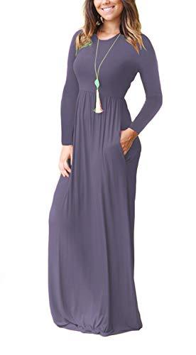 VIISHOW Women's Long Sleeve Solid Pockets Plus Maxi Long Dress with Elastic Waistband(Purple Gray,Medium)
