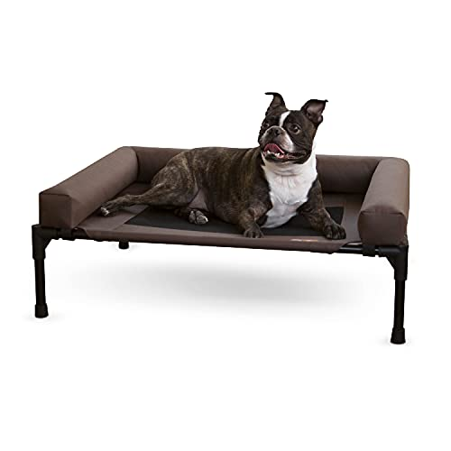 K&H Pet Products Original Bolster Pet Cot Outdoor Elevated Dog Bed with Removable Bolsters - Chocolate/Black Mesh, Medium 25 X 32 X 7 Inches