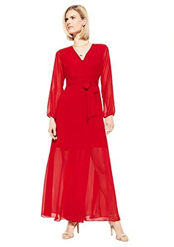 comma Damen Chiffon-Kleid mit Wickeleffekt Dark red 36