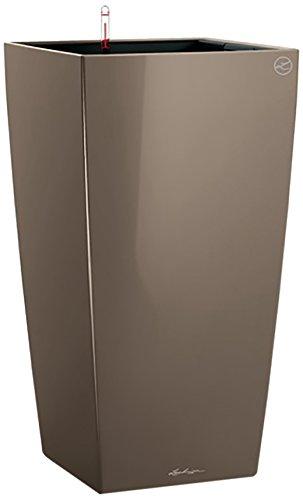 Lechuza - 18214 - Cubico 30 Premium, Vaso con Sistema di Auto-irrigazione, Superficie Lucida, Colore: Marrone