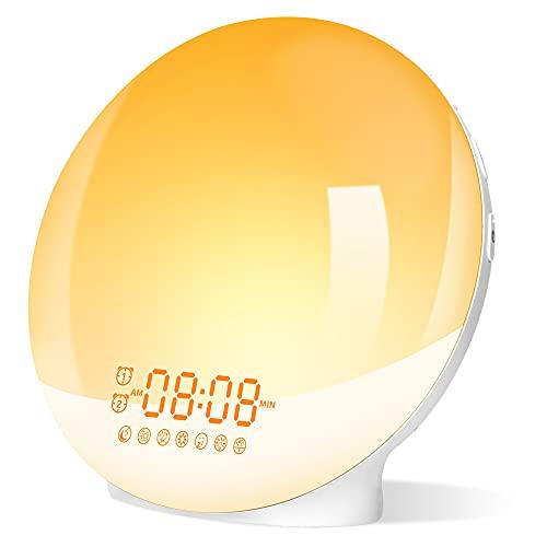 Despertador Luz, Wake Up Light LED con 20 Niveles Brillo, 7 Luces de Colores 7 Sonidos Naturales, Simulación de Amanecer y Atardece, Luces Despertador con Función Snooze, Radio FM, Regalo para niños