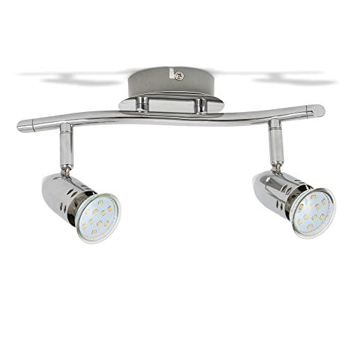B.K.Licht plafonnier LED 2 spots orientables, 2X3W, GU10, IP20, spots plafond LED salon salle à manger chambre cuisine couloir, lumière blanche chaude