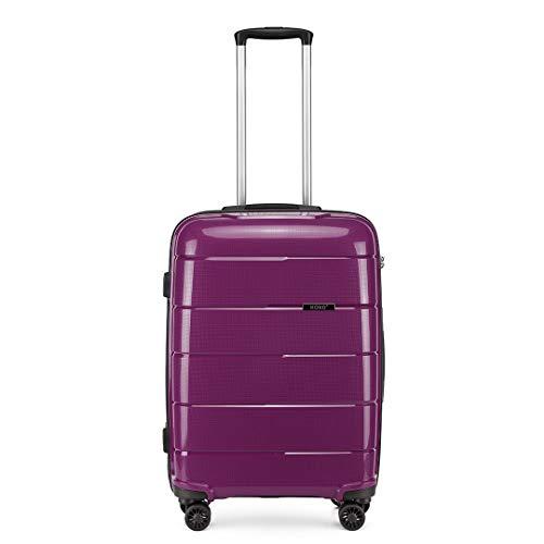 Kono Hard Shell 55cm Cabin Hand Luggage in TSA Lock 4 Wheeled Spinner Lightweight Polypropylene Suitcase with YKK Zipper (S (55cm - 38L), Purple)