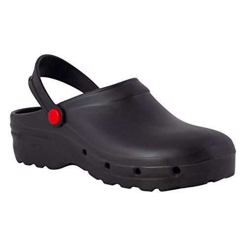 REPOSA Light Shock Zuecos Sanitarios, Zapatos de enfermería, Material eva Zapatos Sanitarios cómodos con capellada Superior Cerrada, Agujeros Laterales, Plantilla anatómica (Negro, Numeric_37)