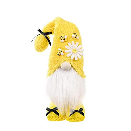 laoonl Soft Toys, accesorios decorativos para el hogar, gnomo de peluche de abeja día sueco enano figuras con abejas y flores decoración temática adorno para cocina y hogar