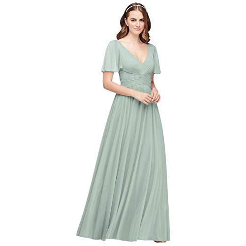 David's Bridal Flutter Sleeve Crisscross Mesh Bridesmaid Dress Style F19933, Dusty Sage, 18