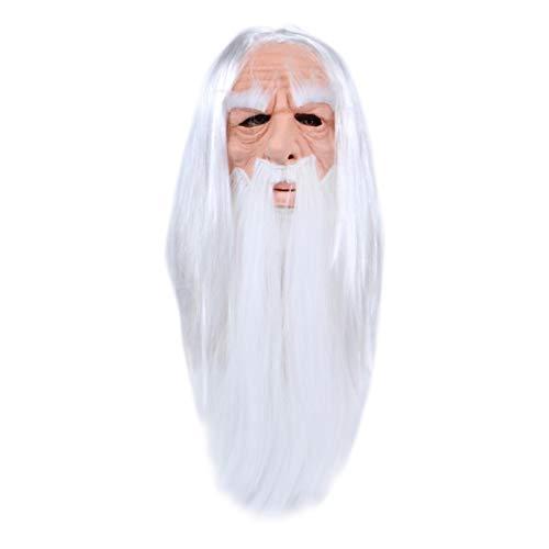 Mscara de mago de Halloween, peluca de mago y barba larga, accesorio de rendimiento de mago de pelo largo, mscara de ltex de carnaval de Halloween