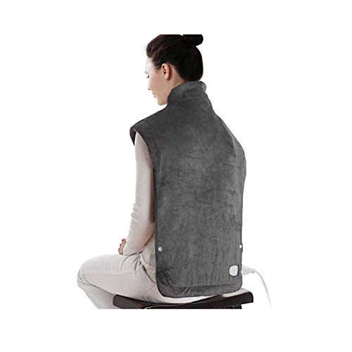 """XXX-Large Electric Heating Pad for Neck and Shoulders, Heating Pad for Back Pain with Auto Off, 6 Temperature Settings, Fast Heating, 25"""" x 32"""", Dark Gray"""