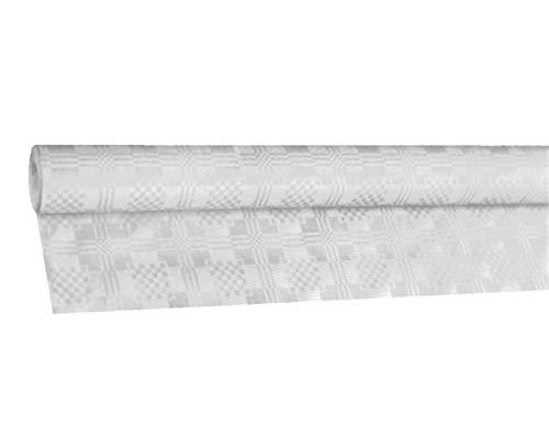 1-PACK Damasttischdecke Tischtuch aus Papier, gerollt 1,00m x 50m, weiß