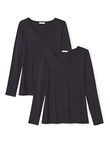 Amazon Brand - Daily Ritual Women's Jersey Long-Sleeve V-Neck T-Shirt, Navy, Large