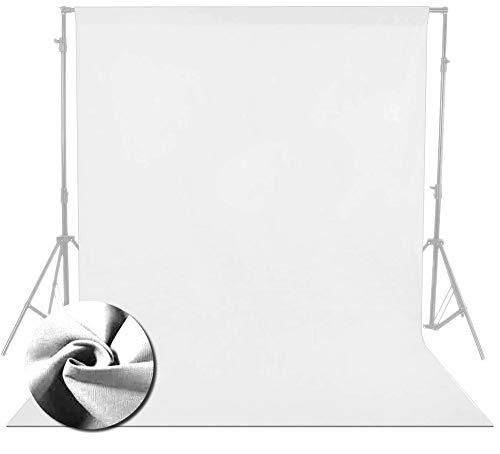 Fond Blanc Pur/Toile de Fond Écran de Studio Photo Professionnel Portable Qualité de Construction Solide, Bords entièrement ourlés, Durable, Lavable à la Machine 100% Pur Coton Toile de Fond